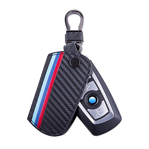 JKCOVER Key Fob Holder Protector Compatible with BMW Remote Fob, M-Colored Stripe Black Carbon Fiber Pattern Leather Key Cover with Keychain (for 1 2 3 4 5 6 7 Series X3)