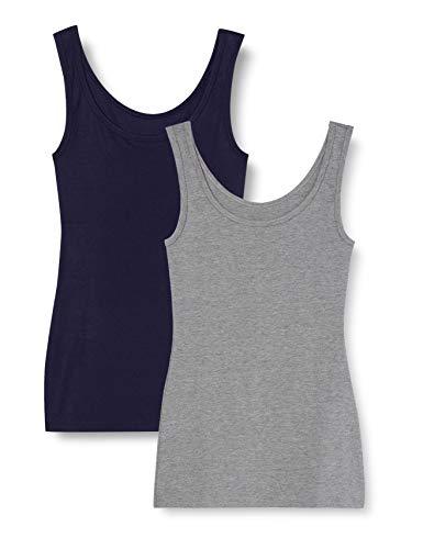 Marca Amazon - IRIS & LILLY Camiseta Interior Térmica Ligera de Tirantes para Mujer, Pack de 2, Multicolor (Grey Melange/navy), XS, Label: XS
