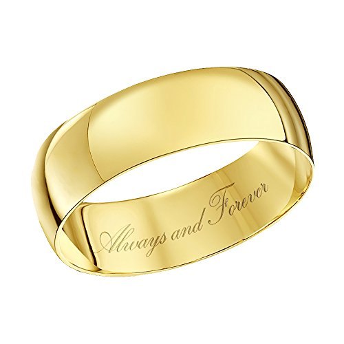 Theia Unisex 9 ct Yellow Gold Heavy D Shape, Engraved Always and Forever, Polished 6 mm Wedding Ring - Size U