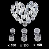 Tattoo Ink Caps - Autdor 300pcs Mixed Tattoo Ink Cups with Base White Mixed Sizes Pigment Cups #11 Small #14 Medium #17 Large for Tattooing, Tattoo Ink, Tattoo Supplies, Tattoo Kits