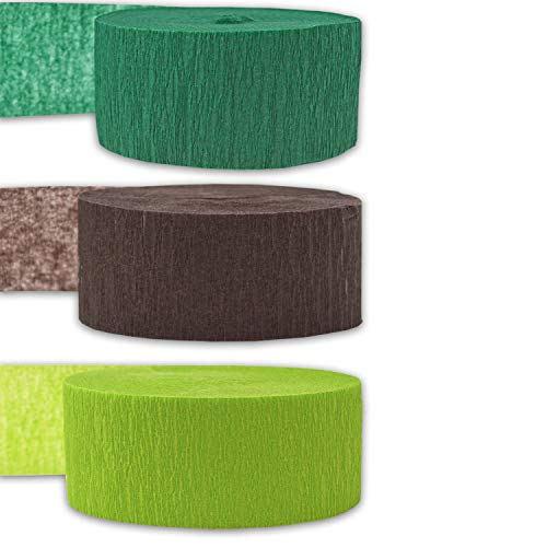 Crepe Party Streamers, 9 rolls, 3 Colors, 739 ft - Forest Green + Brown + Lime Green - 243' per color (3 rolls per color, 81 foot each roll) - For party Decorations and Crafts - Flame Resistant, Bleed Resistant, Made in USA
