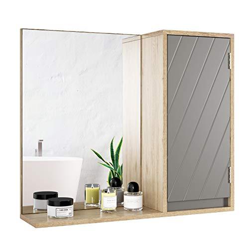 HOMECHO Armario de Baño con Espejo Espejo de Pared con 1 Puerta y Estante para Baño Dormitorio Salón Armario de Pared con Espejo Color de Roble y Gris 57 x14.3 x 49.5 cm