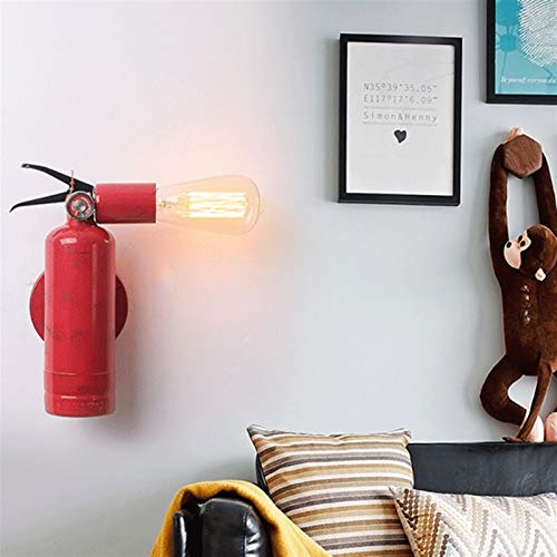 YXLMAONY Retro Fire Extinguisher Shape Indoor Wall Lamp, Creative E27 Lamp Holder Rotatable Corridor Decorative Lamp, Wrought Iron Lamp Body, Used for Corridor Bedroom Home Lighting