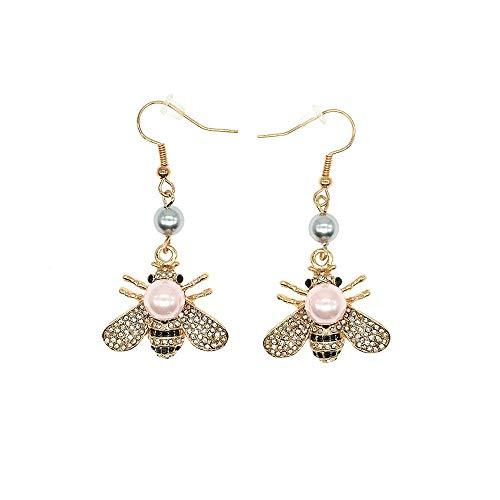 Pendientes colgantes de miel de abeja Pendientes colgantes con temática de insectos de cristal Pendiente de perlas de concha de moda animal para mujer Chica