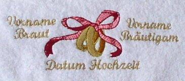Sauna Handdoek met Borduurwerk Ringe und Ihrem Namen und Hochzeitsdatum