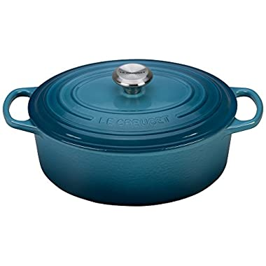 Le Creuset Signature Enameled Cast-Iron 5-Quart Oval French (Dutch) Oven, Marine
