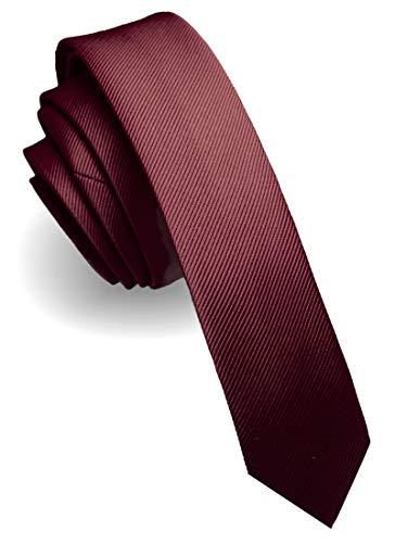 JEMYGINS 4CM Seta Cravatta Slim Borgogna da Uomo 2