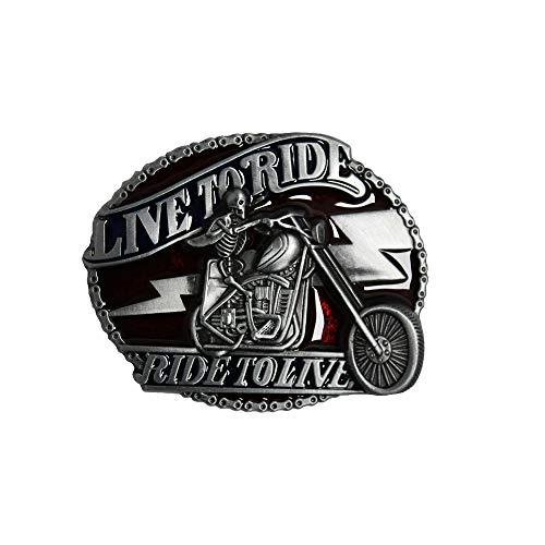eeddoo® Gürtelschnalle Skull - Live to Ride - Ride to Live - Totenkopf Buckle (Buckle für Wechselgürtel für Damen und Herren | Belt Frauen Männer Oldschool Rockabilly Metall Biker Western Trucker)
