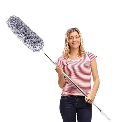 DELUX Microfiber Feather Duster Extendable Cobweb Duster with 100 inches Extra Long Pole, Bendable Head & Scratch-Resistant Hat for Cleaning Ceiling Fan, High Ceiling, Blinds, Furniture & Cars Grey
