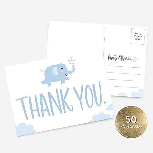 50 4x6 Blue Elephant Boy Baby Shower Thank You Postcards Bulk Set, Cute, Modern Whimsical Baby Blue Thank You Note Card Stationery for Baby Shower, Baby Gift, Baby Baptism, Gender Reveal
