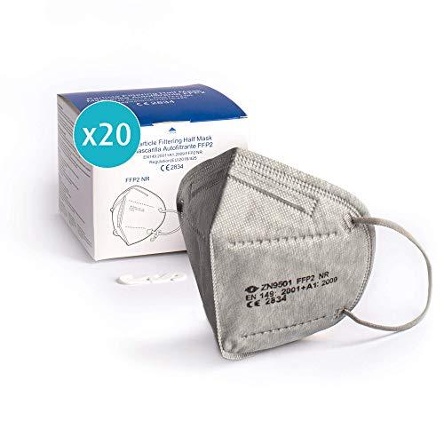 ProPulsan I 20 Stück Atemschutzmaske FFP2 Maske I CE zertifiziert 2834 I einzelverpack im PE-Beutel I grau I inkl. Maskenhalter