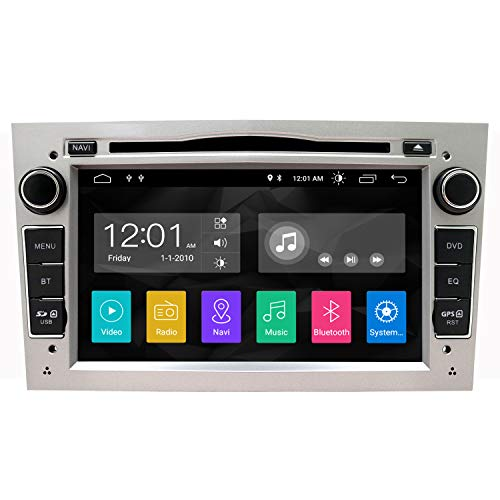 SWTNVIN Android 10.0 Auto Audio Stereo Kopfeinheit passt für Opel Vauxhall DVD Player Radio 7 Zoll HD Touchscreen GPS Navigation mit Bluetooth WiFi Lenkradsteuerung 2GB + 16GB (Silber)