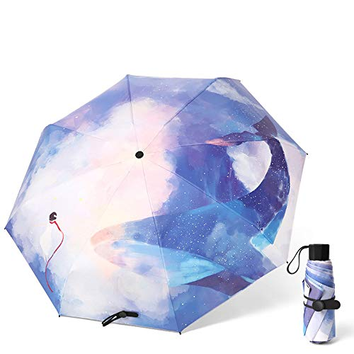 FGYSFT - Ombrello pieghevole e impermeabile, da viaggio, pieghevole, antivento, impermeabile, portatile, leggero, compatto, da viaggio