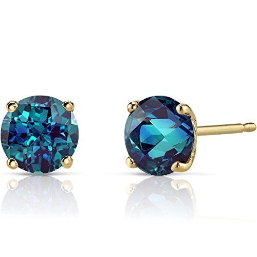 14K Yellow Gold Round Cut 2.00 Carats Created Alexandrite Stud Earrings
