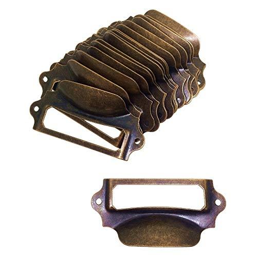 20 tiradores para cajones, estilo vintage, 90 x 40 mm, color rojo bronce