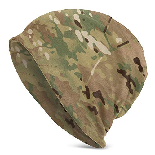 Texture Background of Multi-cam Camouflage Fabric for Armed Forces Slouchy Beanie for Men/Women Thin Skull Cap Baggy Oversize Hat Black