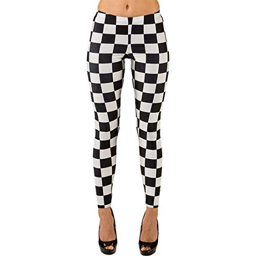 NET TOYS Attraktive Damen-Leggings Schachbrett-Muster | Schwarz-Weiß in Größe L/XL (44 - 50) | Lässige Frauen-Strumpfhose Karomuster geeignet für Mottoparty & Karneval
