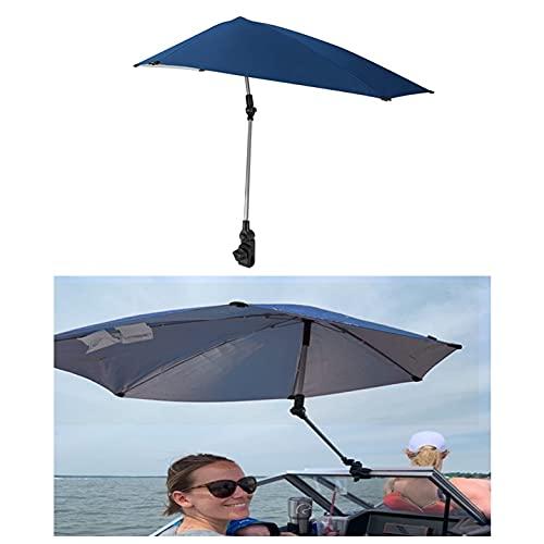 HAO KEAI Sillas De Playa Protección Solar Sombrilla De Pesca Silla De Pesca Ajustable Al Aire Libre Cochecito De Camping Puede Girar El Clip De Los Paraguas Azules