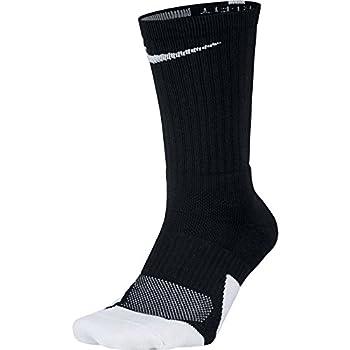 NIKE Unisex Dry Elite 1.5 Crew Basketball Socks  1 Pair  Black/White/White Medium