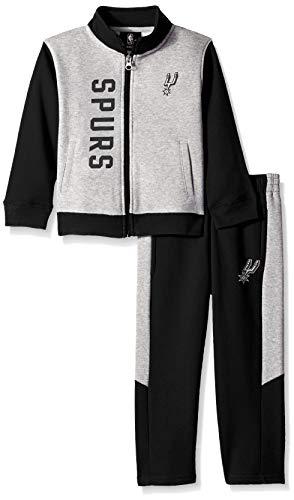 NBA by Outerstuff NBA Toddler San Antonio Spurs On The Line Jacket & Pants Fleece Set, Black, 4T