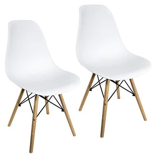Sedie da Pranzo Giulia Bianche Design Nordico con Gambe in faggio (Bianco, 2 Pezzi)