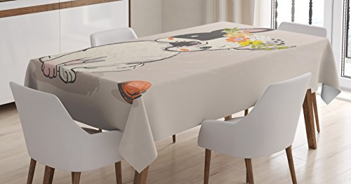 Lunarable Dog Tablecloth, Hand Drawn French Bulldog with Wreath on Its Head Watercolor Domestic Pet Illustration, Dining Room Kitchen Rectangular Table Cover, 52' X 70', Multicolor