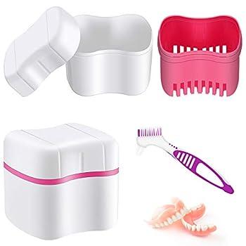 Denture Bath Case with Denture Cleaner Brush Denture Toothbrush Denture Cup Denture Box Bath Denture Container with Basket Denture Holder Denture Brush Retainer for Travel Retainer Cleaning  Red