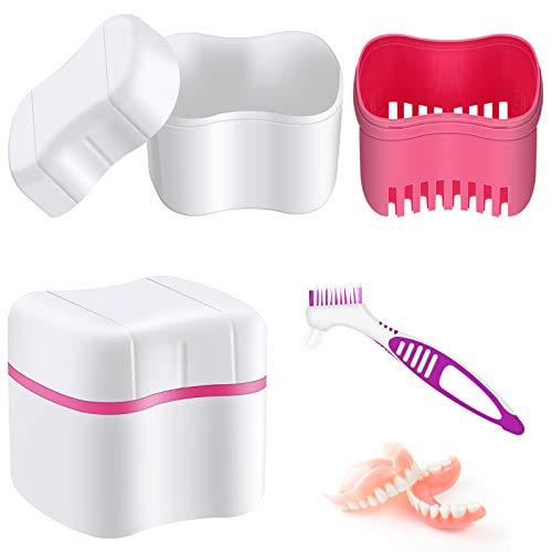 Denture Bath Case with Denture Cleaner Brush Denture Toothbrush, Denture Cup Denture Box Bath Denture Container with Basket Denture Holder Denture Brush Retainer for Travel Retainer Cleaning (Red)