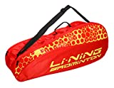 Li Ning Badminton Racket Bag Double Compartment Kitbag with Handle Shoulder Strap Carries 4+ Racket Accessories (Red)