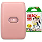 Fujifilm Instax Mini Link Smartphone Printer + Fujifilm Instax Mini Instant Film (20 Sheets) Bundle with Sturdy Tiger Stickers + Deals Number One Cleaning Cloth (Dusky Pink)