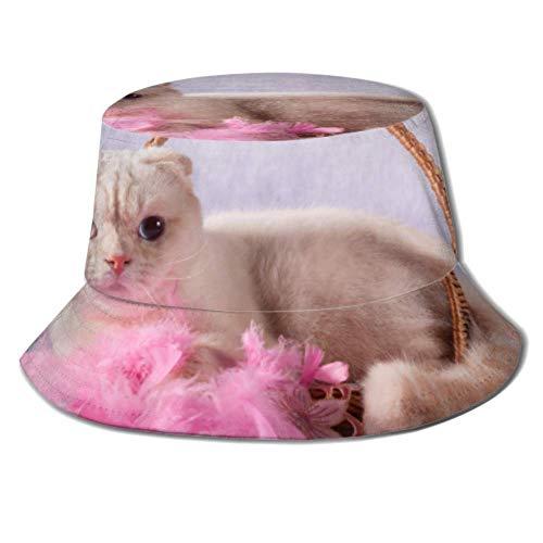 Gorra para el Sol Gato Blanco Acostado Cesta de Mimbre Cubo Rosa Protección para el Sombrero para el Sol Gorro de Pescador de Verano Empacable para Pesca, Barco de Playa