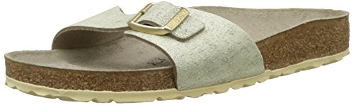 BIRKENSTOCK Damen Madrid Pantoletten, (Washed Metallic Cream Gold), 37 EU