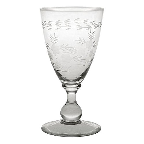 GreenGate Weinglas - Wine Glass with Cutting - Clear - Large