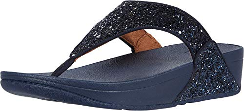 Fitflop Lulu Glitter Toe-Thongs, Sandales Bout ouvert Femme, Bleu (Midnight Navy 399), 39 EU