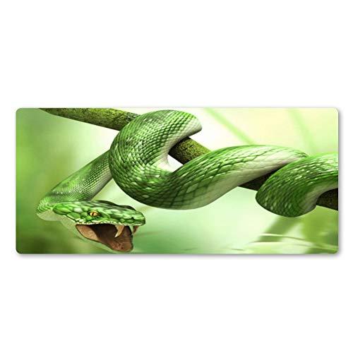 JUMOQI Mauspad Tree Branch Green Snake Mauspad Gummi waschbar Wot Game Pad Pro Premium Büro Computer Tastatur Maus Schreibtisch Matten Boy Geschenke,400X700X3MM