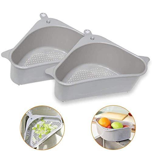 GoodsBros 2 Stück dreieckiger Filterkorb für Spülbecken- Seiher Sieb Set Klappbar Abtropfsieb über die Spüle Vegtable/Obst Küche Sieb Teesieb mit ausziehbaren Griffen