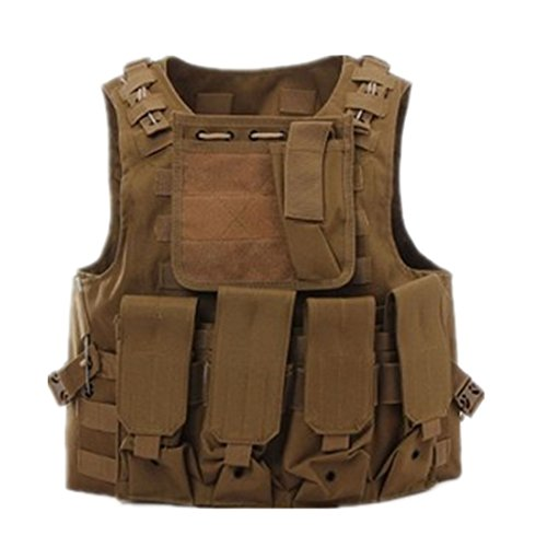 Military Tactical Vest, Molle Design, for Hunting, Airsoft, Police - Holster, Beige - Skin-coloured