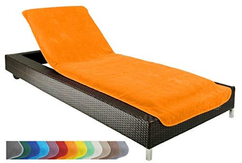 Brandsseller Schonbezug für Gartenliege, Strandliegenauflage, Frottee Schonbezug, 100% Baumwolle (ca.75x200 cm, Orange)