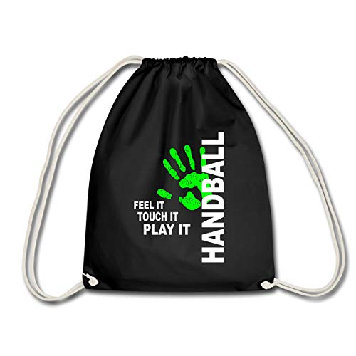 Spreadshirt Handball Feel It Touch It Play It Handballer Spruch Turnbeutel, Schwarz
