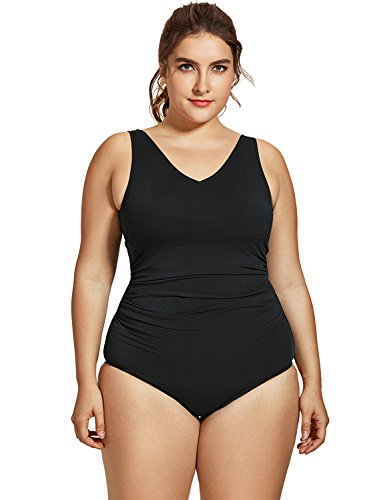 SYROKAN Women's Sport Shirred Plus Size Bathing Suits Athletic One Piece Swimsuit Black 50