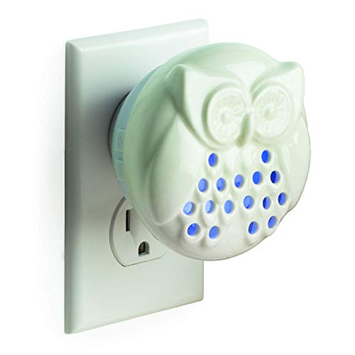 Airomé Owl Pluggable Essential Oil Diffuser, Ceramic Cover with 8 Color LED Night Light Wall Plug In, White Glazed