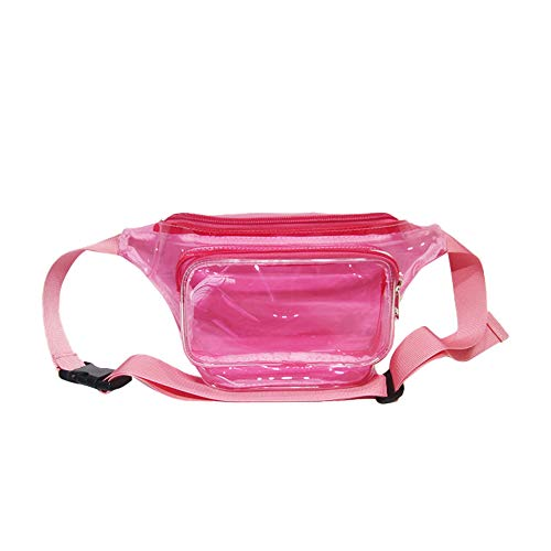 DIKOPRO Fashion Sports Waist Bag for Women & Men, PVC Waterproof Shiny Waist Bag, Laser Waist Bum Bag with Adjustable Belt for Travel, Party, Festival Rave, Running, Hiking(Pink)