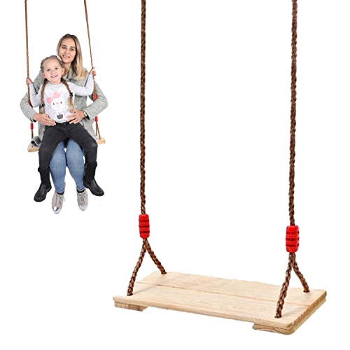 EnweLampi Columpio de Madera para niños con Cuerdas Colgantes y Accesorios de suspensión, Columpio de árbol de jardín Ajustable, Juguete de Exterior e Interior de 150 kg de Carga
