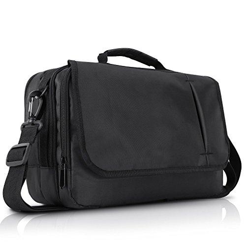NAVISKAUTO Universal Business Messenger Bag Shoulder Bag for 10.1 inch Dual Portable DVD Player, Laptop and Tablet-Black (10.1 inch)