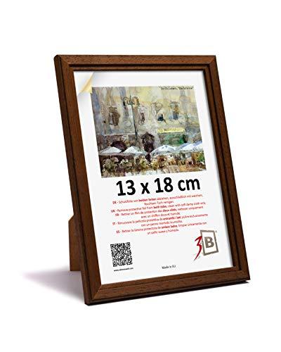 3B Cornice Jena - Marrone Scuro - 13x18 - Cornice in Legno, Foto, da Parete e da Tavolo con Vetro Poliestere (Foglio di plastica)