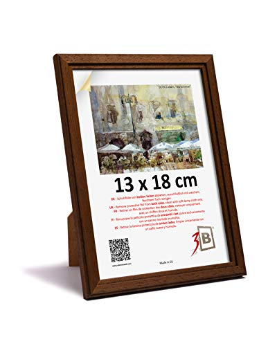 3-B Bilderrahmen JENA - dunkel braun - 13x18 - Holzrahmen, Fotorahmen, Portraitrahmen mit Plexiglas