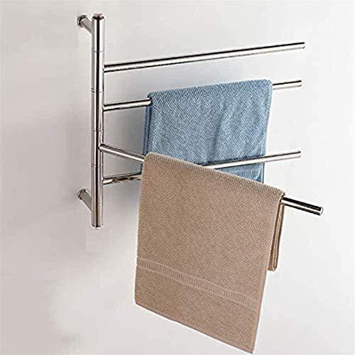 Inicio Equipos Rieles de toalla con calefacción Calentadores de toallas para baño Rejilla de secado con calefacción de pared para ropa 4 barras 50W Marco de acero inoxidable Baño en casa Ahorro de