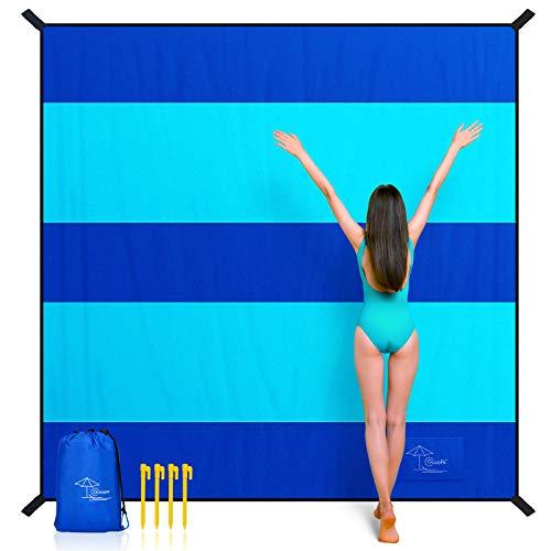 OCOOPA Stranddecke sandfrei super groß 280x300 cm, sanddicht wasserdicht, weiches bequemes langlebiges Material, breite Streifen, leicht kompakt für Picknick, Urlaub (Navy blau, 280 x 300 cm)