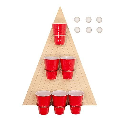 Bier Ping Pong Dreieck Bierregal Wurfspiel Weinglas Wandbehang Bier Pong Spiele Holzschild Wand Pong Spiel Wurfspiele für Freundestreffen,Partys,Geburtstage,In- Outdoor-Aktivitäten Spiele 45X30Cm