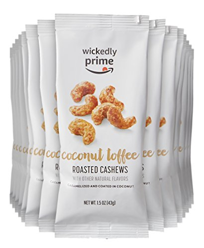 Wickedly Prime Roasted Cashews, Coconut Toffee, Snack Pack, 1.5 Ounce (Pack of 15)